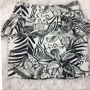 Karen Millen England Monochrome Peplum Skirt Sz 6
